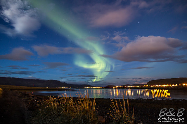 Aurora borealis at dusk