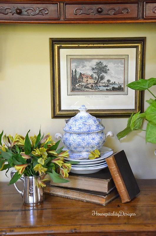Blue and White Transferware Sugar Bowl - Vintage Books - Ironstone - Housepitality Designs