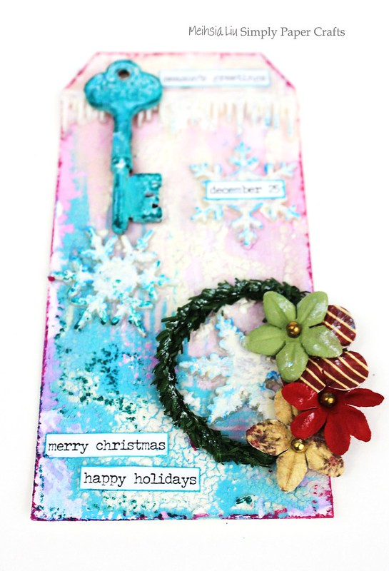 Meihsia Liu Simply Paper Crafts mixed media tag Christmas snow Simon Says Stamp Tim Holtz