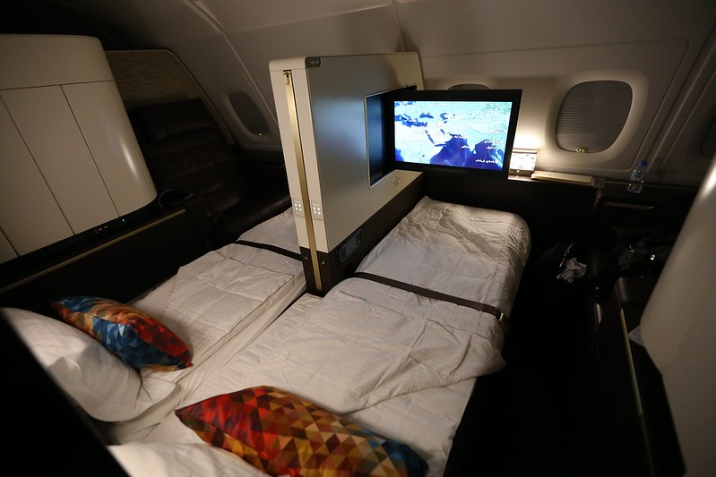 Etihad First Class Apartment beds tvs