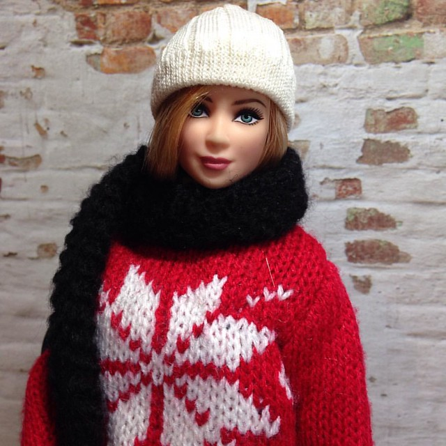 Juno's winter attire! Made from a Christmas ornament and novelty socks! . . . #dollclothes #dollcrafts #dollstagram #instadoll #barbieclothes #barbie #maxandjuno #custombarbie