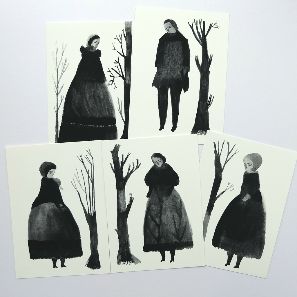 monochrome gouache works