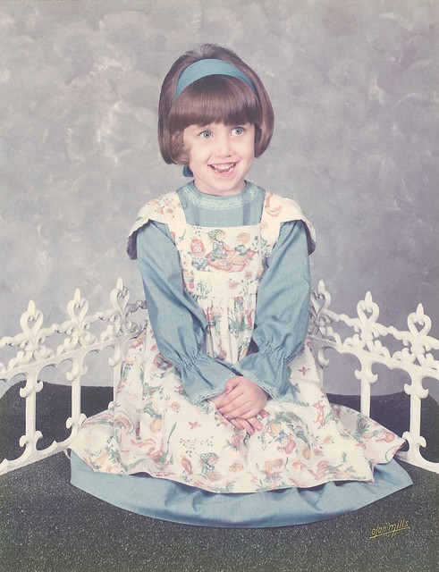 1975-May-Quincy Joy is 4yo wearing the Little Bo Peep dress her mama made for her Mother Goose birthday party Tallahassee FL