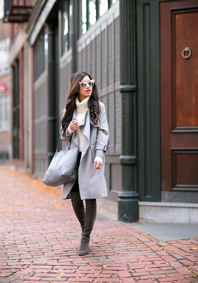 gray trench coat stuart weitzman lowland boots extra petite