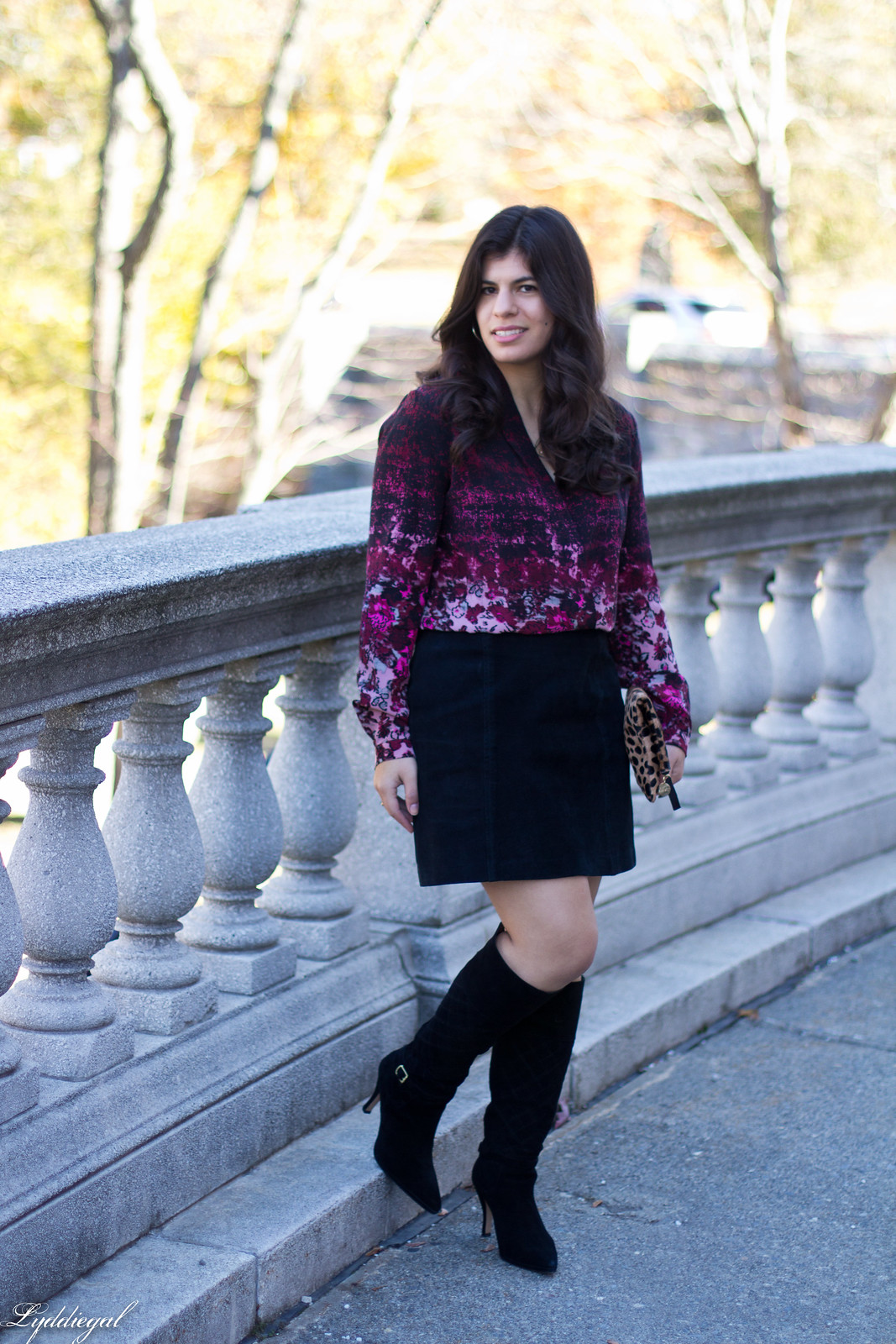 floral blouse, black suede mini skirt, knee high boots.jpg