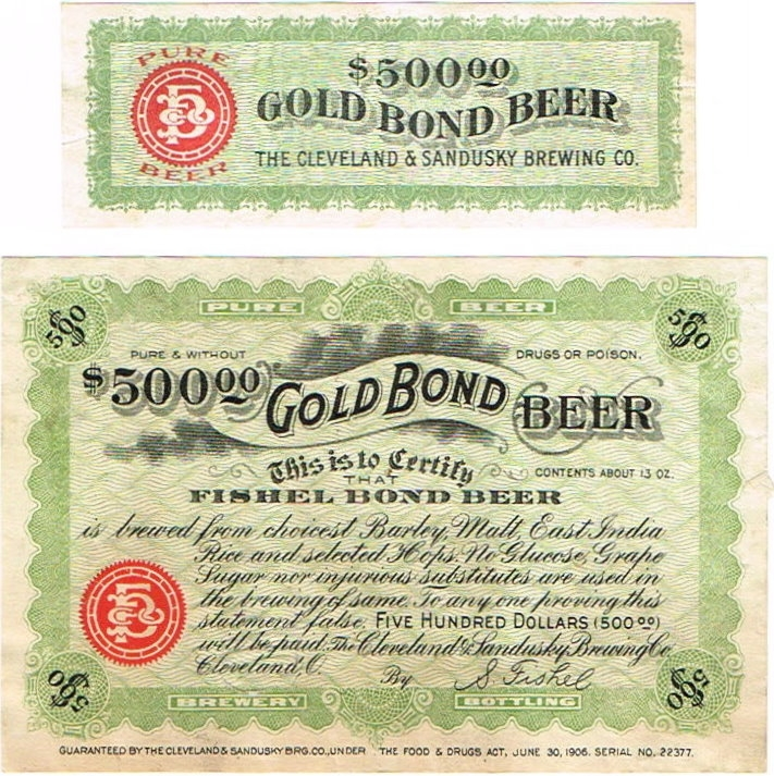 Fishel-Bond-Beer-Labels-Cleveland-amp--Sandusky-Brewing-Co-Fishel-Brewery