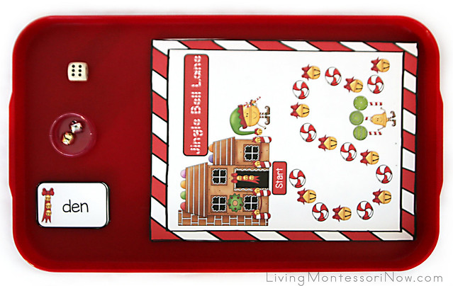 Jingle Bells Lane Game for Short E or Long A Words