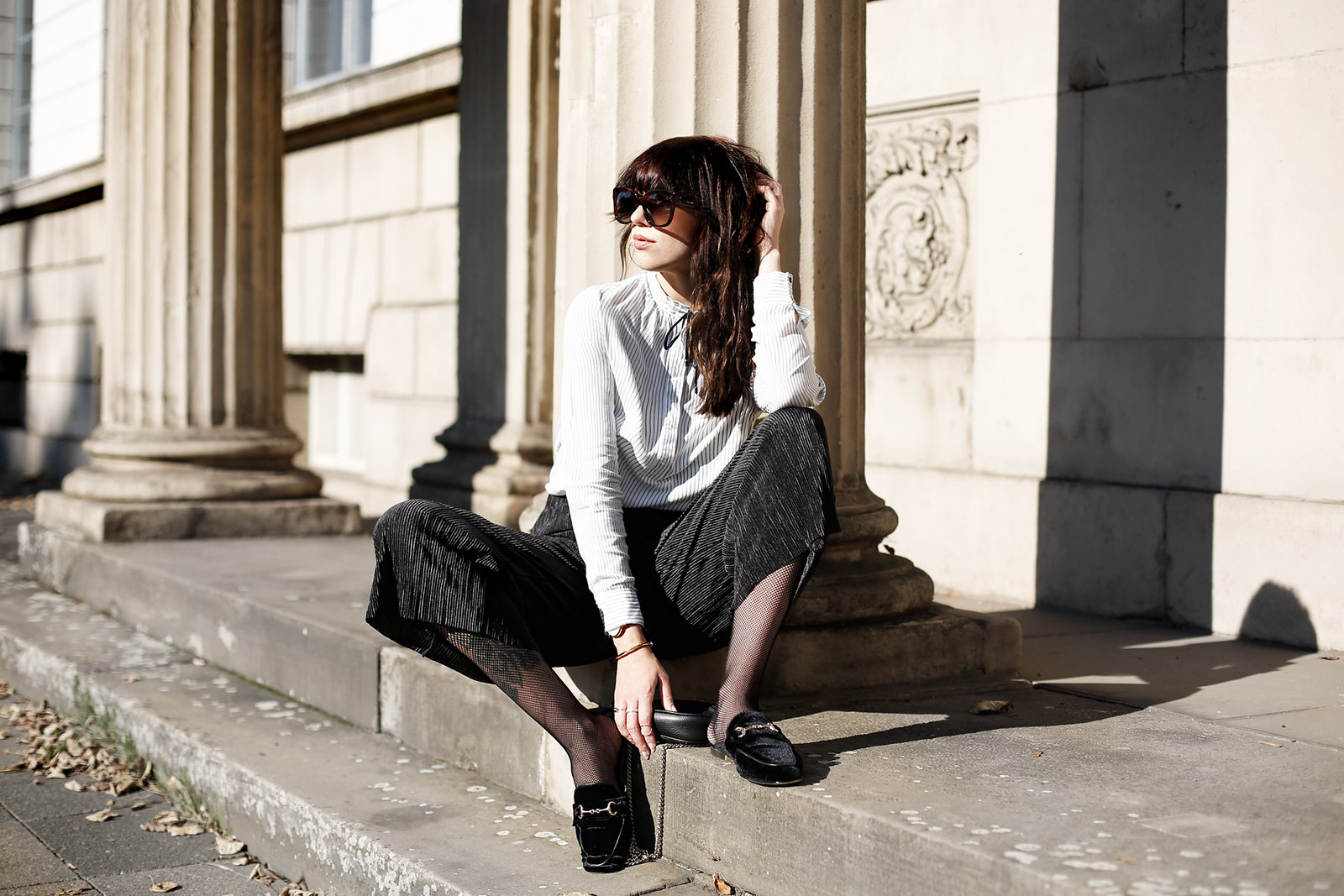 loafer brogues mules slippers velvet gucci princetown shoes autumn minimal black white stripes celine audrey sunglasses gucci soho bag promod blouse earrings hoop statement fashionblogger cats & dogs ricarda schernus modeblogger 3