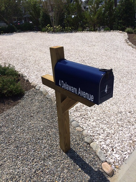Midnight Blue Painted Mailbox by TheBusBox