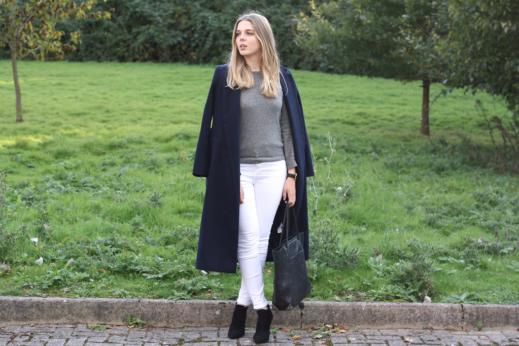 Topshop long blue coat with Zara black suede boots and Topshop Jamie skinny jeans