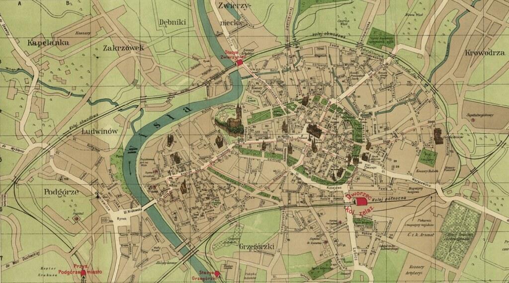 Carte de Cracovie avec les différents quartiers et les principaux monuments.