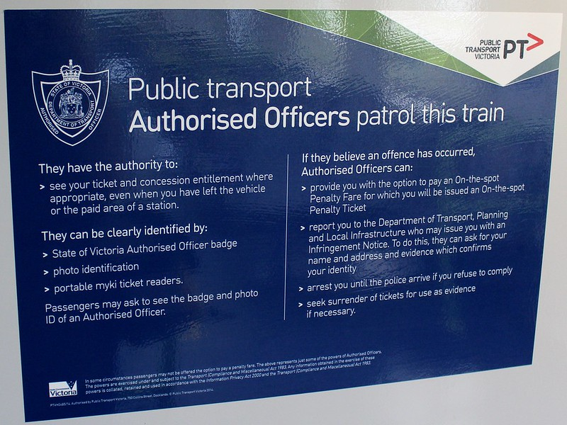 Melbourne train, authorised officer notice