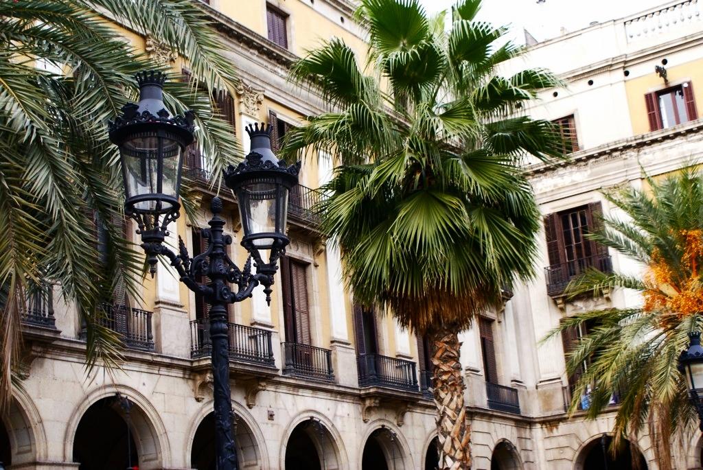 Place Real à Barcelone avec ses magnifiques palmiers.