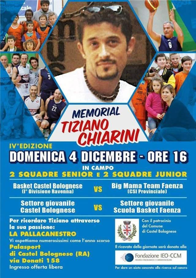 Domenica 4 dicembre torna il memorial Tiziano Chiarini di basket
