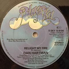 DAN HARTMAN:RELIGHT MY FIRE(LABEL SIDE-A)