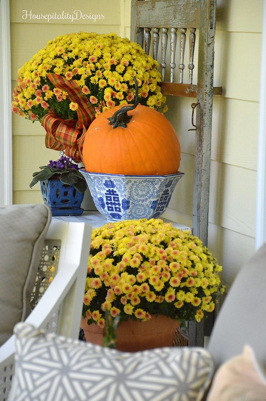 Fall Porch 2016 - Mums - Vintage Screen Door - Housepitality Designs
