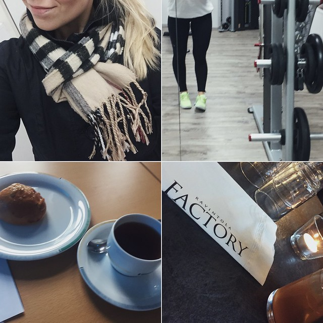 scarf, huivi, lämpöinen, warm, gym, kuntosali, meetings, kokoukset, tapaamiset, kahvi ja pulla, coffee and bums, after work, friday, perjantai, factory, fresh lemon ice tea drink, raikas sitruuna jäätee juoma.