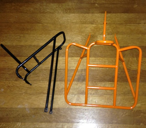The mini-rack for the Waterford rando bike (black) and my prototype internally routed O/S blasdel-style rack