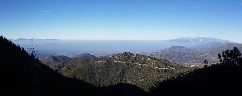 Panorama view southwest with the LA Haze below and between Santiago Peak and Mount Baldy