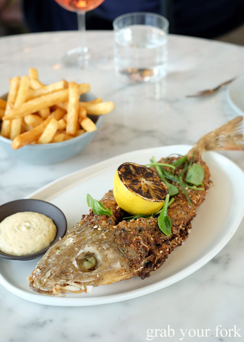 Whole flathead and chips at Cirrus Dining at Barangaroo Sydney