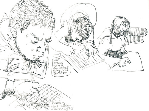 Sketchbook #100: Homework and Reading Time