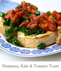 Hummus, Crispy Kale and Thyme Roasted Tomatoes on Toast