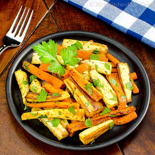 Kitchen Riffs: Roast Carrots and Parsnips with Herbs