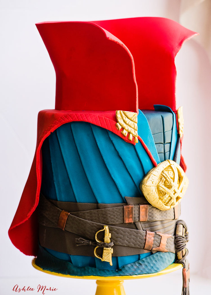 This cake is full of details and the video tutorial will explain them all so you can make your own doctor strange cake!