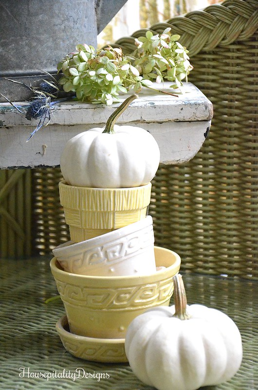 Vintage Flower Pot Topiary with pumpkins - Housepitality Designs