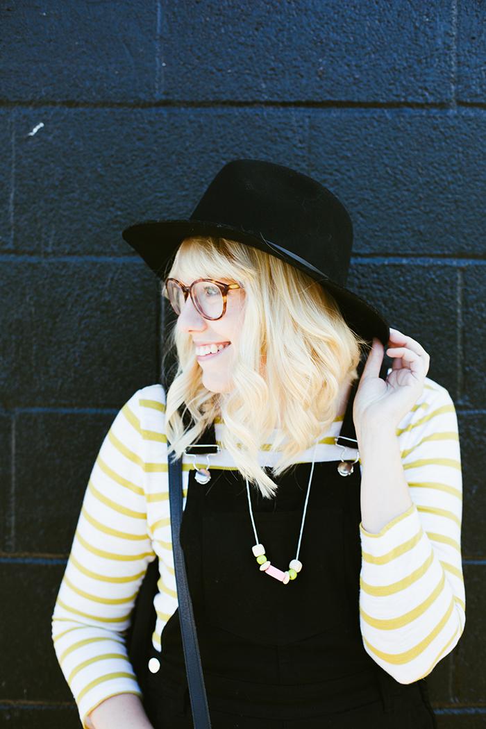 writes like a girl black overalls striped shirt18