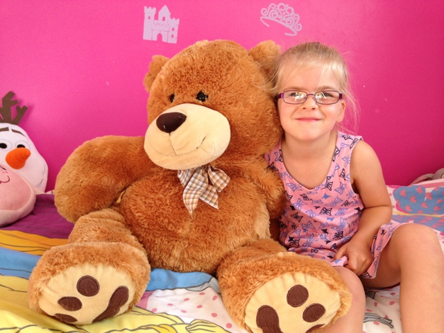 Layla Berryman 6 from Westlands primary school sittingbourne with her teddy Bob