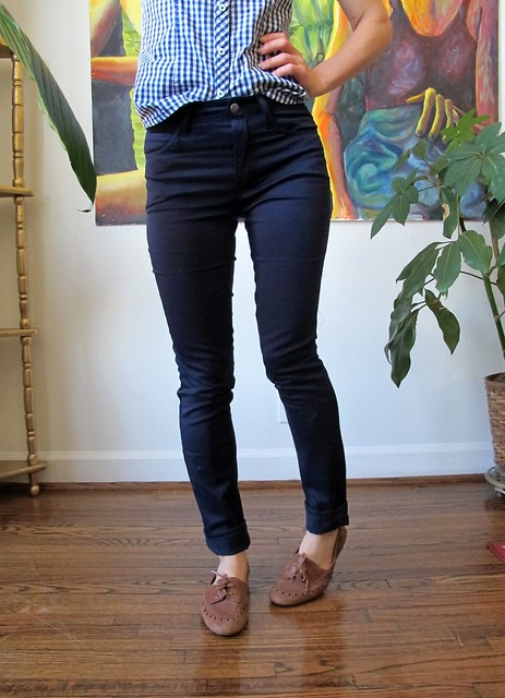 Navy Cotton twill Ginger Pants - front