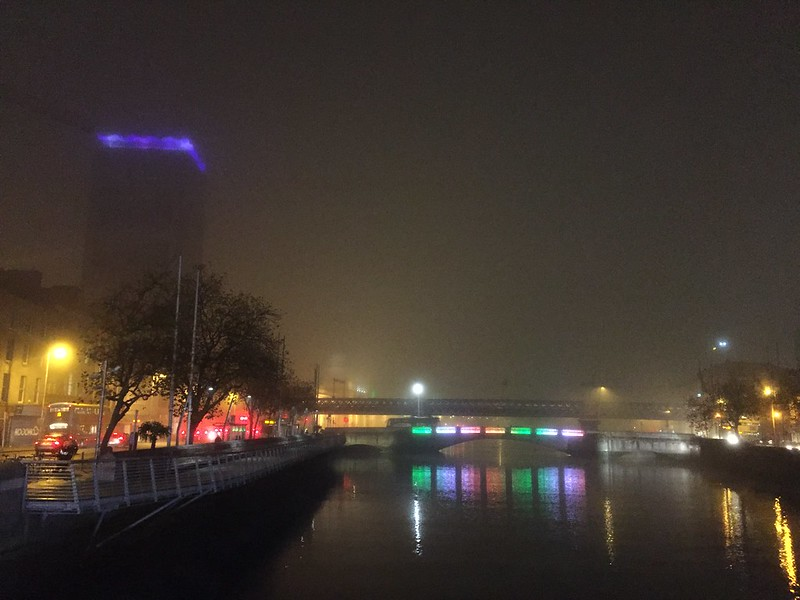 A freezing, foggy city