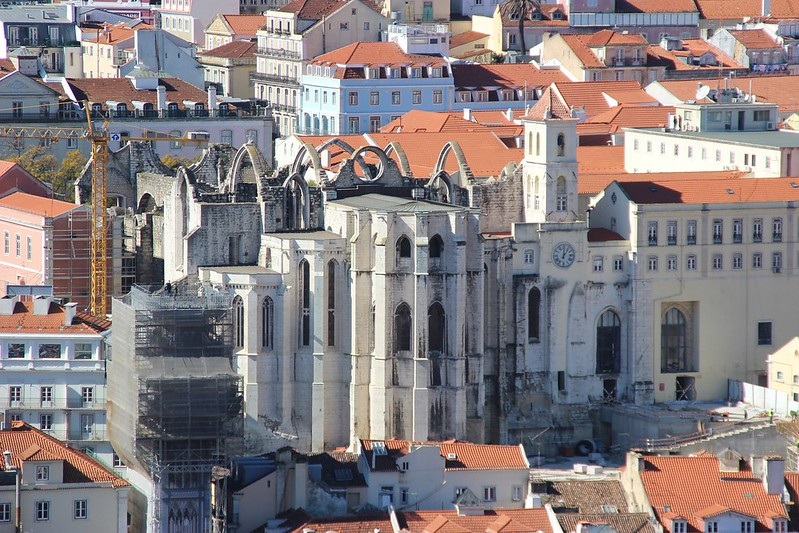 Carmo Convent Lisbon from the air