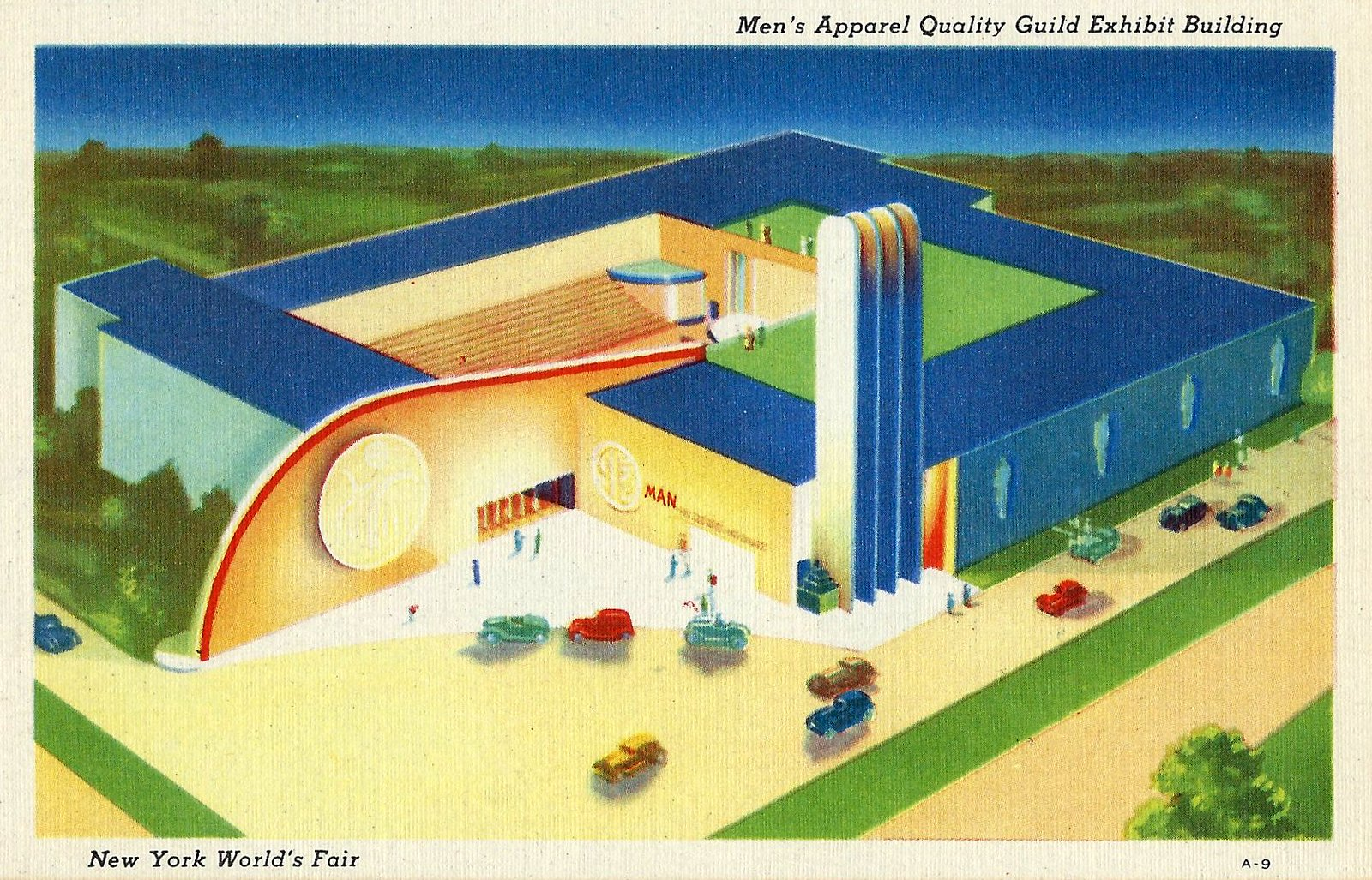 The 1939 New York Worlds Fair Postcard (Building The World Of Tomorrow) - The Men's Apparel Quality Guild Exhibit Building