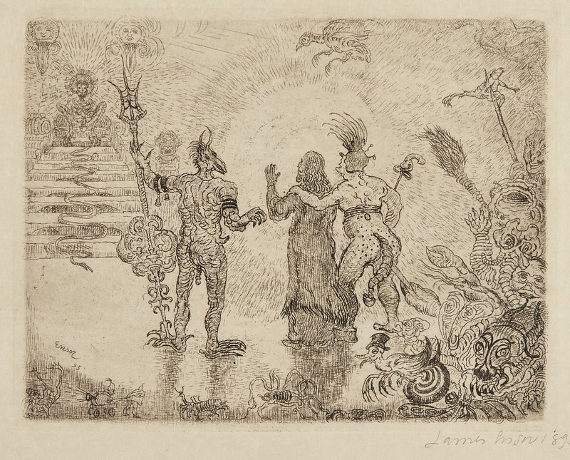 James Ensor - The Devils Dzitts and Hihanox Leading Christ to Hell, 1895