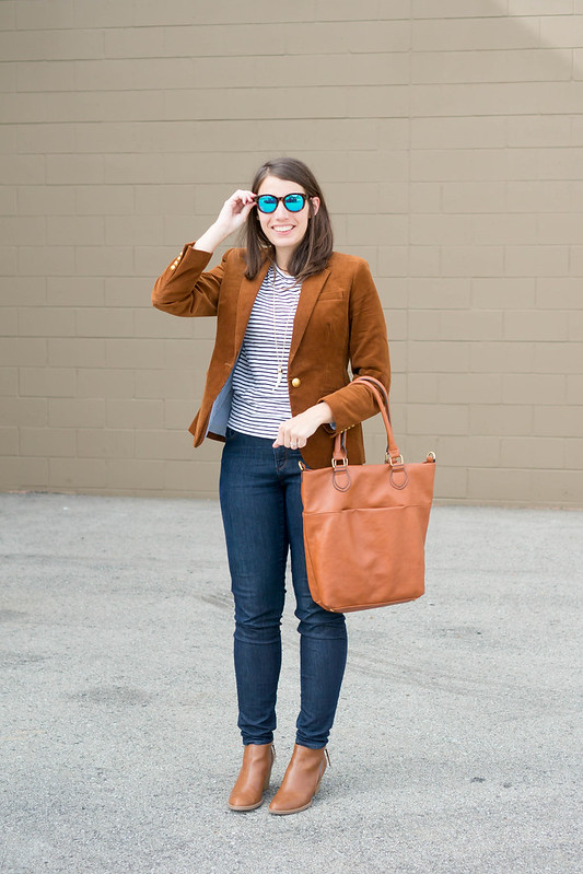 J.Crew corduroy blazer + stripe tee + Loft jeans + Target ankle boots; casual fall outfit   Style On Target blog