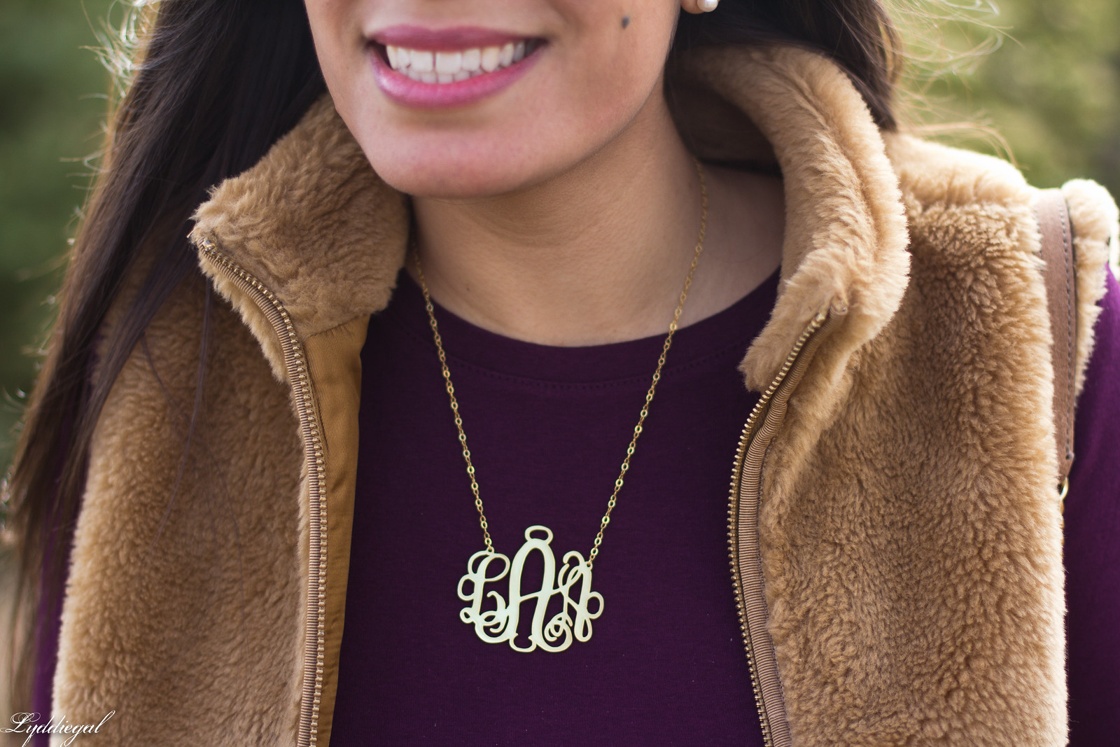 burgundy top, j.crew fleece vest, monogram necklace-7.jpg