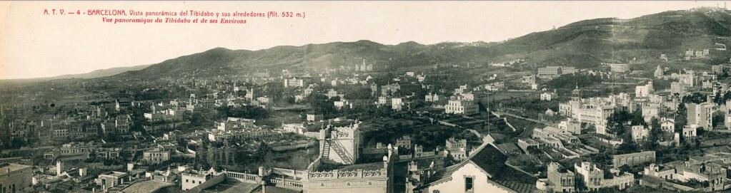 Vue panoramique depuis Tibidabo vers 1900.