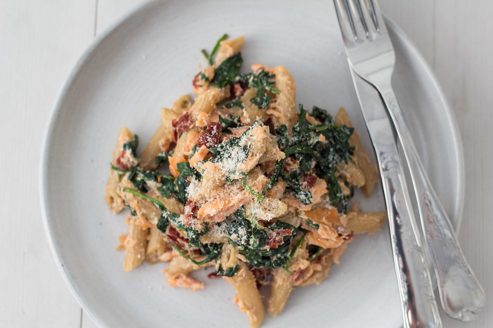 Recipe for Salmon, Spinach and Ricotta Cheese Pasta