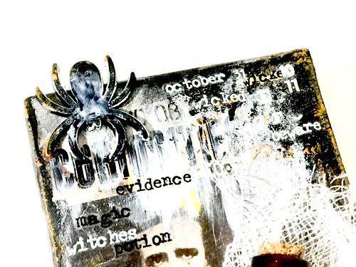 Meihsia Liu simply Paper crafts mixed media Halloween  treat box Simon says stamp Monday challenge Tim Holtz