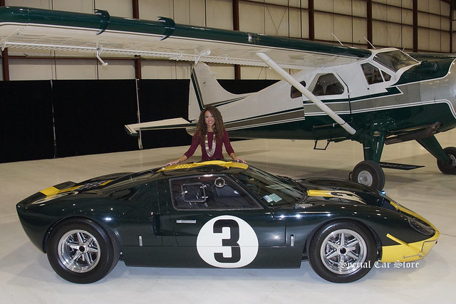 Model wearing Tommy Bahama with Superformance GT40 MK I