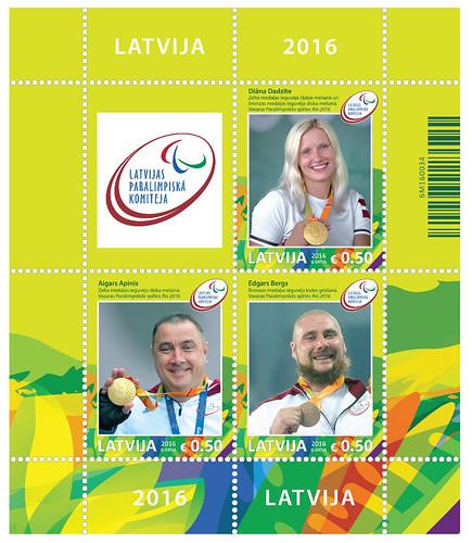 Paralimpisko spēļu medaļniekiem veltīts pastmarku bloks