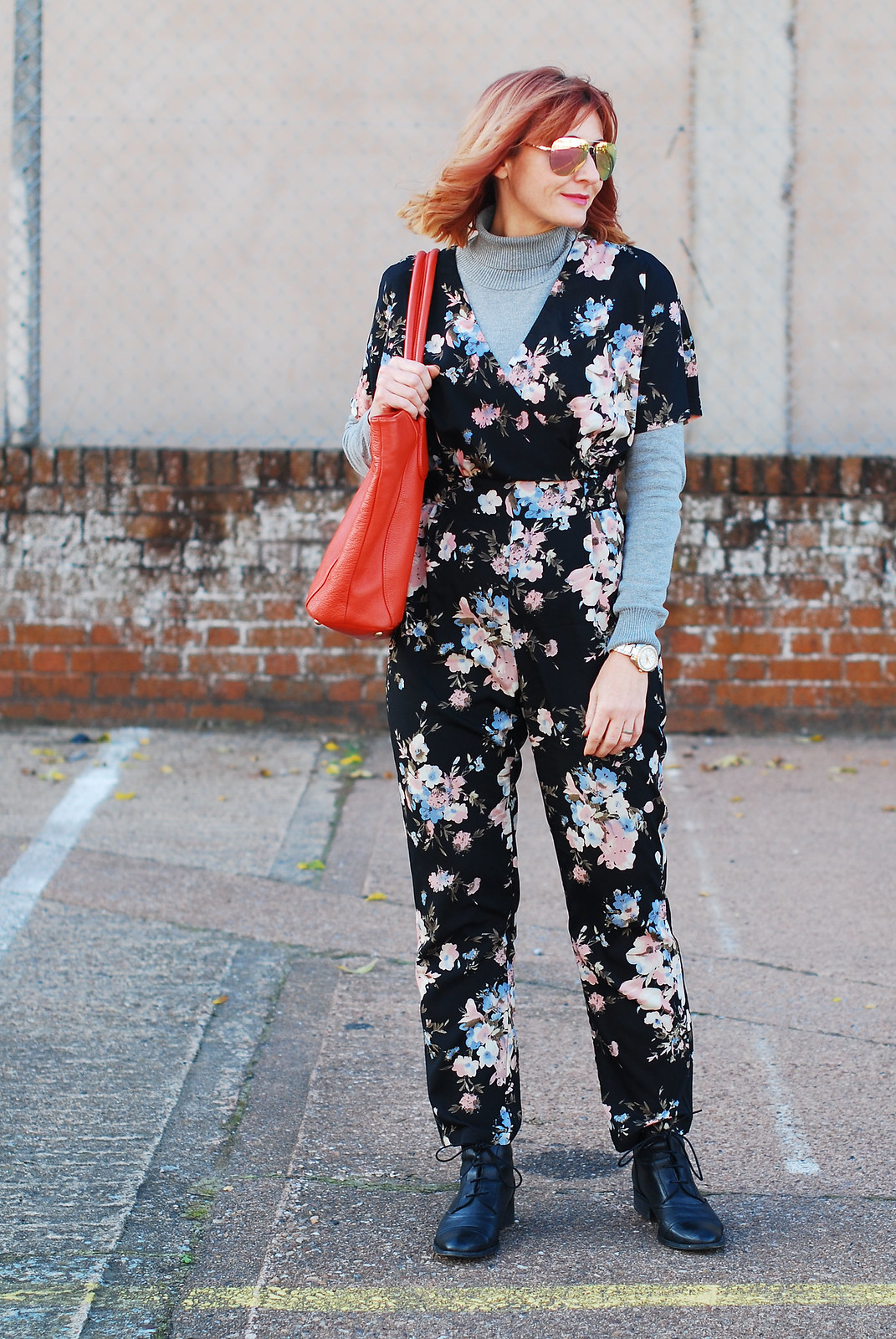 Dark floral jumpsuit styled for autumn / fall / winter layered with a roll neck, boots | Not Dressed As Lamb, over 40 style
