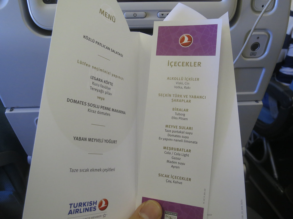 Turkish Airlines Menu