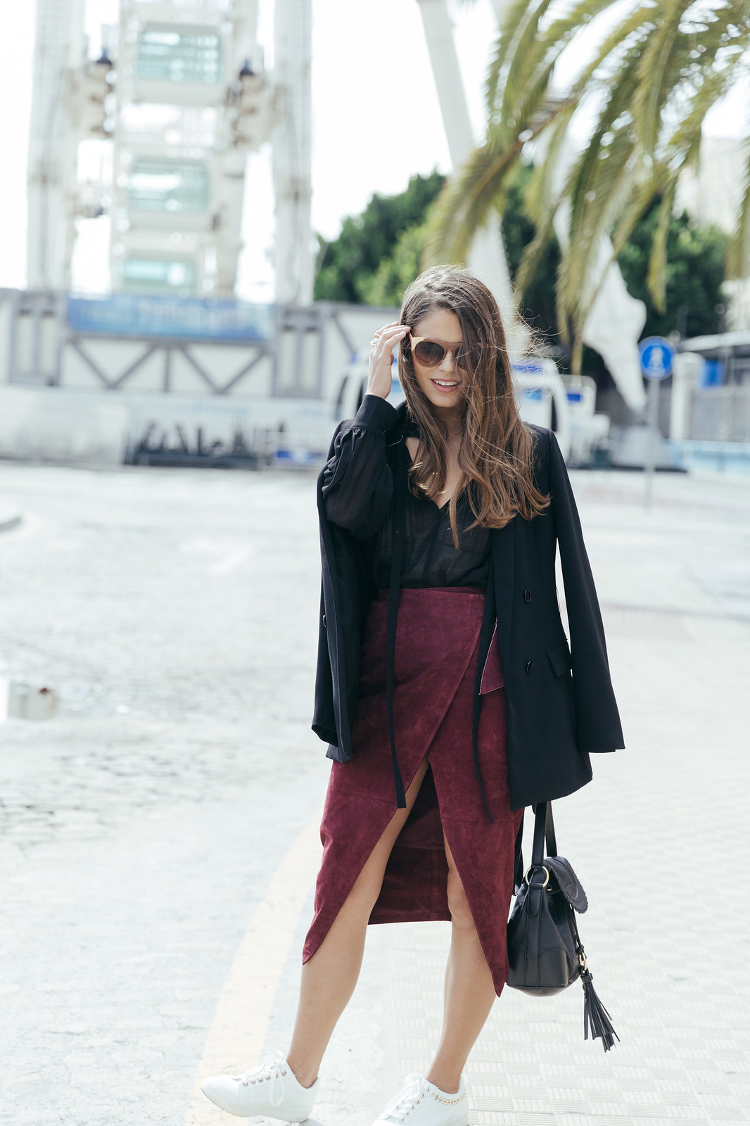 Jessie Chanes Seams for a desire - Burgundy Midi Skirt -7