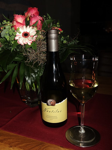 Chardonnay (Weißwein vom Weingut Nautilus in Neuseeland) vor dem Essen