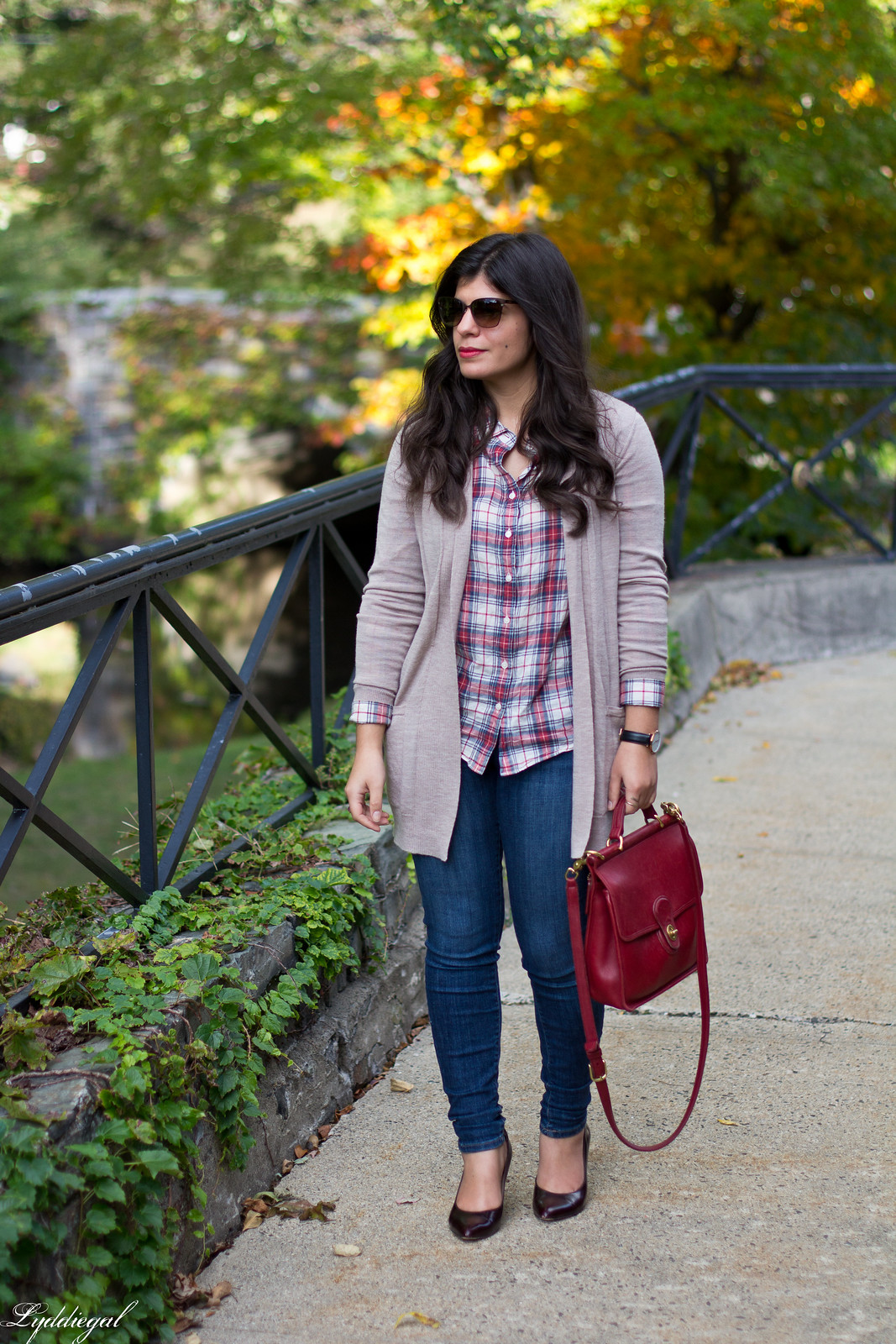 plaid shirt, camel cardigan, jeans, red coach willis bag.jpg