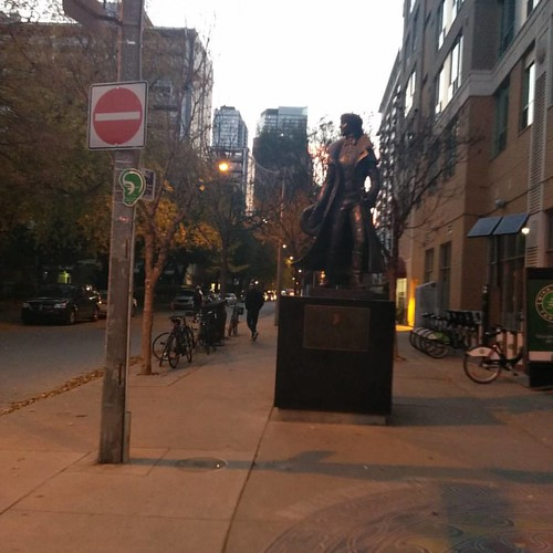 Alexander Wood at twilight #toronto #churchandwellesley #churchstreet #maitlandstreet #alexanderwood #statue
