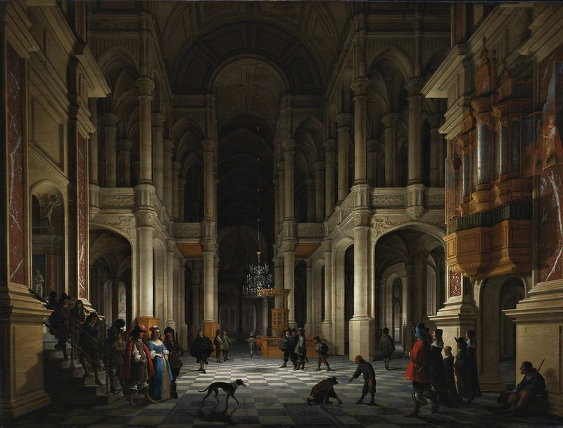 Anthonie de Lorme, Anthonie Palamedesz. - The interior of a renaissance-style church at night with an elegant couple making an entrance
